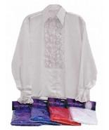 WHITE SATIN SHIRT AND RUFFLES, 1960s 1970s DISCO, MENS FANCY DRESS COSTUME - $18.06