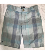 Micros Boy's Shorts Blue Gray Plaid 4 Pockets Adjustable Waist Size 6 - $7.59