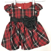 Bonnie Baby Plaid Dress Holiday Bow Front Baby Girl Size 6 9 Months - $13.99