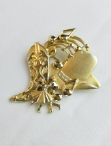 Vintage A.J.C signed gold tone country boots cowboy hat dancing metal brooch pin - $21.08