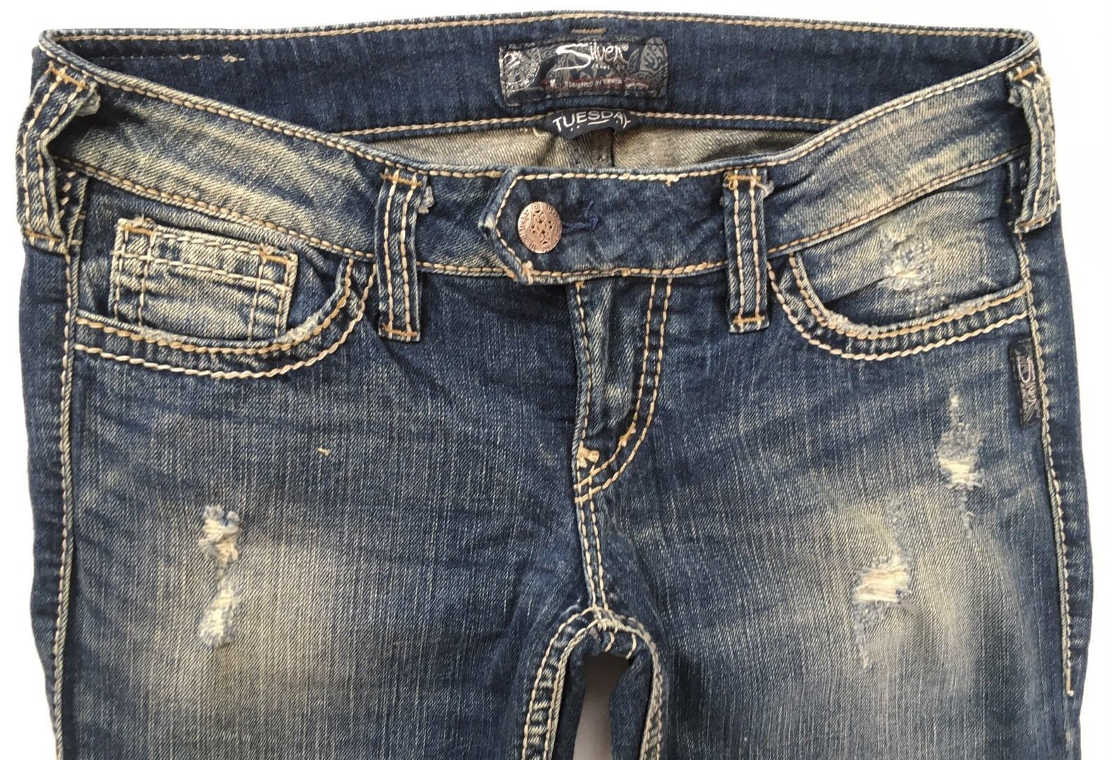 SILVER Jeans Sale Low Rise Tuesday Destructed Denim Stretch Jean Mid Shorts 30