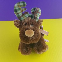 "Russ Berrie Plush Marty Moose Plaid Flannel Antlers 9"" Stuffed Animal   - $11.87"