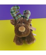 "Russ Berrie Plush Marty Moose Plaid Flannel Antlers 9"" Stuffed Animal   - $11.87"