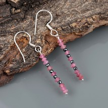 Pink Tourmaline & Hematite 925 Sterling Silver Drop Dangle Earrings for... - $18.99