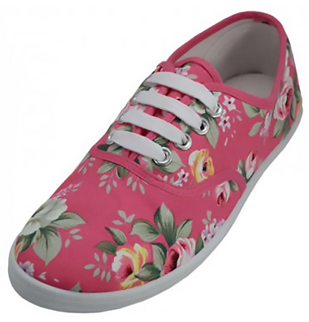 Primary image for Womens Pink Rose Floral Print Canvas Sneakers Tennis Shoes Lace Up Plimsoll