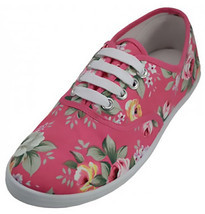 Womens Pink Rose Floral Print Canvas Sneakers Tennis Shoes Lace Up Plimsoll - €13,14 EUR