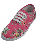 Womens Pink Rose Floral Print Canvas Sneakers Tennis Shoes Lace Up Plims... - $14.40