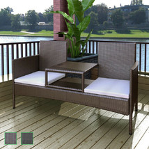 vidaXL Patio Rattan Wicker Garden Balcony Outdoor Bench Chairs Table 2 C... - $149.99+