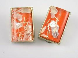 Vintage LADIES EARRINGS Unique Artisan Gold Tone Back Orange Mixed Media  - $4.95