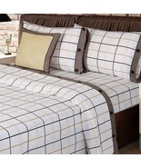 Beige and Ivory Checkered Sheet Set KING SIZE 4PCS Sheets and Pillowcases - $80.18