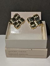 "Avon Golden Weave Pierced Earrings NOS NIB 1"" Square Gold toned - $12.99"