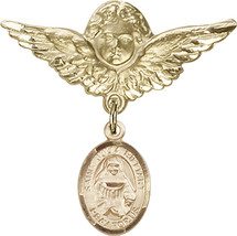14K Gold Filled Baby Badge with St. Julia Billiart Charm Pin 1 1/8 X 1 1... - $107.08