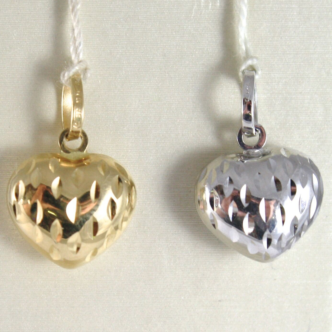 Gelb Gold Anhänger oder Weiß 750 18k, Herz Konvex, Doppel Face Made in Italy