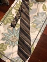 ZYLOS GEORGE MACHADO TIE STRIPED Brown Cream Silk Necktie Ties - $12.34