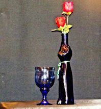 Blue Cat Stem Vase and Wine Glass AA19-1584 Vintage image 6