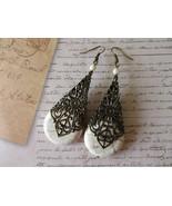 White Howlite Turquoise & Cathedral Filigree Cone Antique Bronze Tone Ea... - $7.13