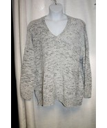 NEW WOMENS PLUS SIZE 3X MARLED GRAY  V NECK SUPER SOFT  CHENILLE SWEATER - $19.15