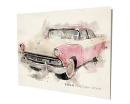 1954 Ford Crown Victoria Pink White Auto Art Design 16x20 Aluminum Wall Art - $59.35