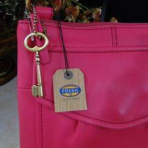 Fossil Crossbody Organizer W/ Brass Key Fuchsia Pink image 3