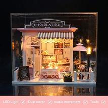 Miniature Dollhouse Kit DIY Dollhouse Wooden Miniature Furniture Kit Mini Pink C image 8