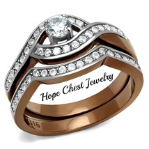 HCJ CZ WEDDING RING SET- STAINLESS STEEL LIGHT BROWN TONE BRIDAL RING SI... - $19.79