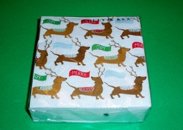 Pack of 40 Blue Dachshund Dog Christmas Holiday Napkins – NIP - $7.50