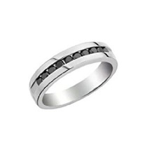 14k White Gold Plated 925 Sterling Silver Black CZ Wedding Men's Band Ring - $74.38