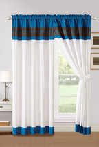 4P Aziza Moroccan Trellis Embroidery Curtain Set Blue Off-White Gray Drape Sheer - $40.89