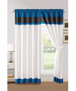 4P Aziza Moroccan Trellis Embroidery Curtain Set Blue Off-White Gray Dra... - $40.89