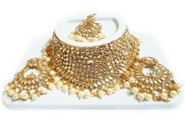 Indian Bridal GOLD Choker Necklace, Earrings & Maang Tikka Set, White Beads - $22.76