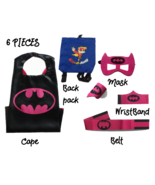Super Hero Capes for Kids Halloween Costumes | 5pc Set | BA Bat Girl Bla... - $17.81