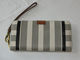 Fossil SL7477080 Emma LG Zip Clutch Black Strip Wristlet RFID multi wallet NWT*^ - $70.78