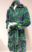 VERA BRADLEY Vibrant EMERALD Paisley Hooded FLEECE Short Robe S/M - ₹2,352.17 INR