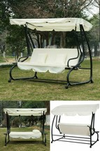 3 Seater Swing Chair Bed Outdoor Garden Patio Yard Hanging Bench Canopy ... - $361.26