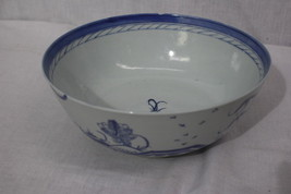 "Antique 19th Century Chinese Export CANTON Blue Porcelain 10"" Punch Bowl... - $199.99"