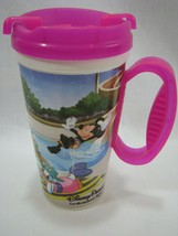 Disney Parks Minnie & Mickey Mouse Whirley Refillable Pink Mug Handle 16 oz Cup - $9.74