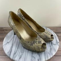 Stuart Weitzman Snakeskin Embossed Leather Peep Toe Pump Tan Women's Siz... - $59.95