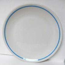 "STERLING CHINA DINNER PLATE DISH WHITE W/AQUA RING 9.5"" USA MARKED N-8 V... - $24.94"