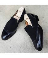 Handmade Men Fashion style black formal Shoes, Men wingtip brogue leathe... - $169.99