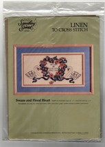 Vintage Linen Cross Stitch Kit Swans and Floral Hearts Wedding Something Special - $24.49