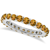 1CT Citrine Eternity Ring 14K White Gold - $594.96+