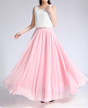 Pink MAXI CHIFFON SKIRT Women High Waisted Chiffon Maxi Skirt Plus Size image 7