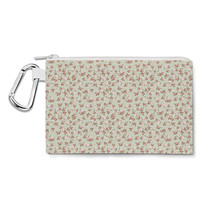 Shabby Chic Roses on Green Canvas Zip Pouch - $15.99+