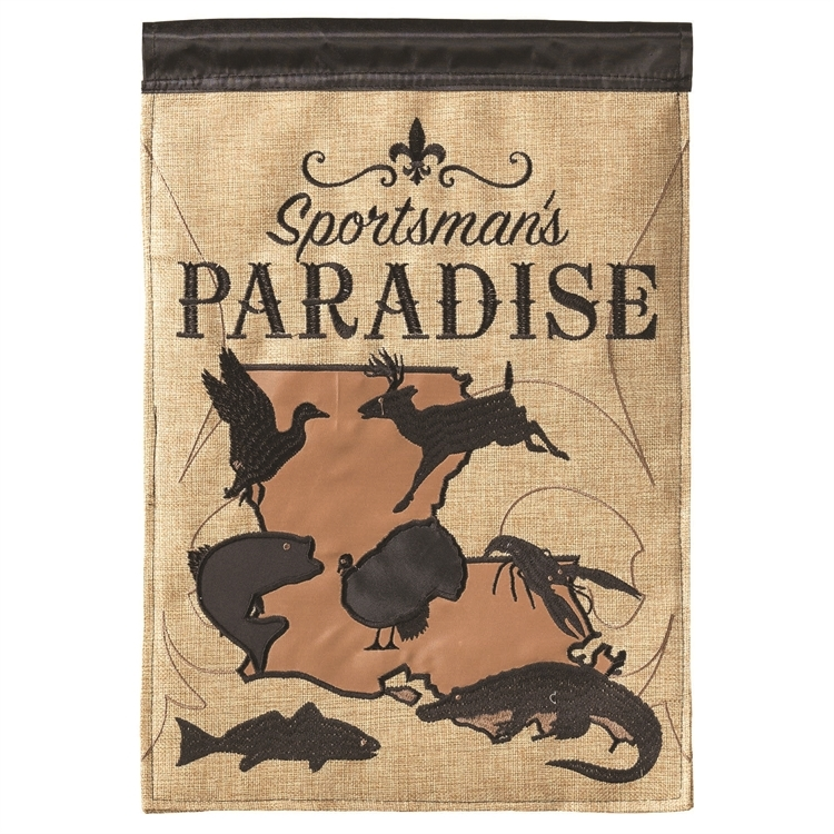 "Primary image for Sportsman's Paradise Double Sided Burlap Appliquéd Garden Flag 13""x18"""
