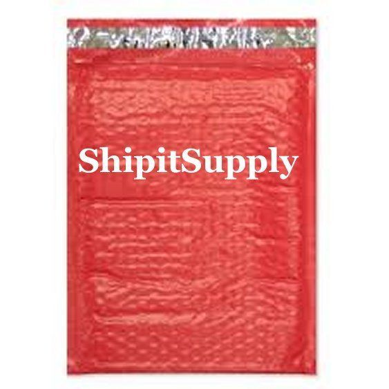 1-500 #000 4x8 Poly ( Red ) Color Bubble Padded Bubble Envelopes Mailers