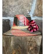 BLACK RED Wayuu Hat Woven Straw HandCrafted Stylish Pom pom Panama Hat S... - $75.00