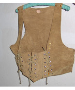 American Made!  Suede Renaissance Festival Corset Vest Leather, Brown Go... - $149.86