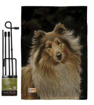 Collie Burlap - Impressions Decorative Metal Garden Pole Flag Set GS1100... - $33.97
