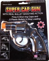6 SUPER 8 SHOT CAP GUNS play toy gun pistol costume fun - $11.72