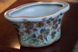 "PLANTER VINTAGE 8"" x 5.5"" x 5"" H FLORAL BIRD GOLD GILT FACTORY CRAZED AN... - $34.99"